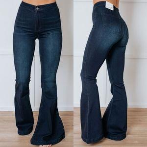 Dark Wash High Waist Rise Flare Bell Bottoms Jeans